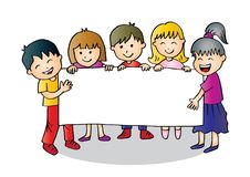 Cartoon happy kids holding banner. Funny cartoon character royalty free illustration