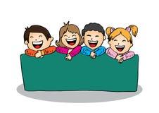 Cartoon happy kids holding banner. Hand drawing illustration vector illustration