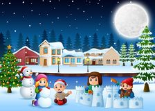 Free Cartoon Happy Kids Playing And Making A Snow In Wintertime Royalty Free Stock Photo - 131354995