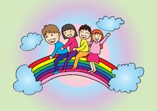 Cartoon happy kids on the rainbow. Funny cartoon character royalty free illustration