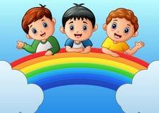 Cartoon happy kids on the rainbow. Illustration of Cartoon happy kids on the rainbow Stock Photos