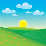 Cartoon happy landscape. Cartoon style landscape with sun and clouds Stock Image