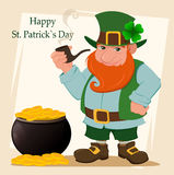 Cartoon happy leprechaun. Character with green hat, red beard, smoking pipe and four leaf clover standing near pot  Royalty Free Stock Photos