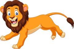 Cartoon happy lion running Royalty Free Stock Image