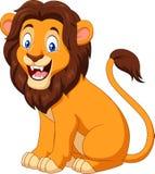 Cartoon happy lion sitting royalty free illustration