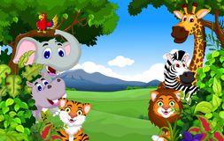 Cartoon happy little animal background Royalty Free Stock Image
