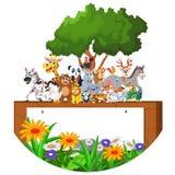 Cartoon happy little animal with blank sign Stock Photos