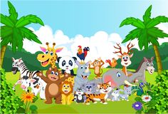 Cartoon happy little animal in the zoo Stock Photography