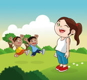 Cartoon of happy little Kids, vector illustration Stock Images