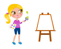 Cartoon happy little Painter girl with paint brush Royalty Free Stock Images