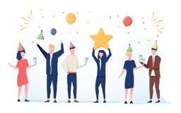 Cartoon happy little people. Cute miniature scene of workers preparing for celebration. Modern cartoon illustration. royalty free illustration