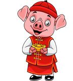 Cartoon happy little pig with traditional Chinese costume holding golden ingot stock illustration