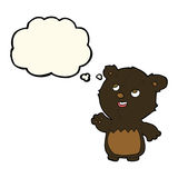 cartoon happy little teddy black bear with thought bubble Stock Image