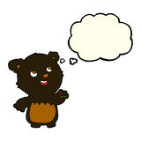 cartoon happy little teddy black bear with thought bubble Royalty Free Stock Photography