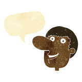 Cartoon happy male face with speech bubble Stock Images