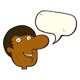Cartoon happy male face with speech bubble Royalty Free Stock Photo