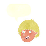 Cartoon happy male face with speech bubble Royalty Free Stock Image