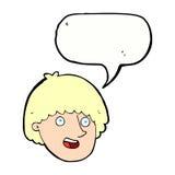 Cartoon happy male face with speech bubble Royalty Free Stock Photos