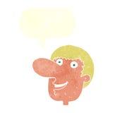 cartoon happy male face with speech bubble Stock Photos