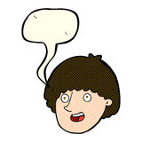 Cartoon happy male face with speech bubble Royalty Free Stock Photography