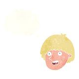Cartoon happy male face with thought bubble Royalty Free Stock Photo