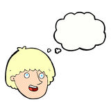 Cartoon happy male face with thought bubble Royalty Free Stock Images