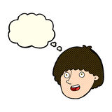 Cartoon happy male face with thought bubble Stock Image