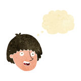 Cartoon happy male face with thought bubble Royalty Free Stock Photos