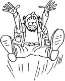 Cartoon happy man. Hand draw image of a happy jumping laughing man vector illustration