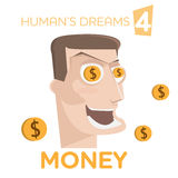 Cartoon happy man character with money in eyes Stock Photos