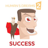 Cartoon happy man character with successful winner in eyes Stock Images