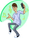 Cartoon of Happy man dancing to music on iPhone royalty free stock images