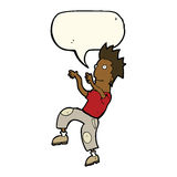 Cartoon happy man doing funny dance with speech bubble Stock Photo
