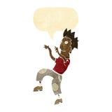 Cartoon happy man doing funny dance with speech bubble Royalty Free Stock Photos