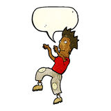 Cartoon happy man doing funny dance with speech bubble Stock Images