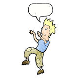 Cartoon happy man doing funny dance with speech bubble Royalty Free Stock Images