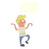 Cartoon happy man doing funny dance with speech bubble Royalty Free Stock Photo