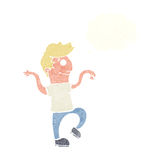 Cartoon happy man doing funny dance with thought bubble Royalty Free Stock Photos