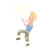 Cartoon happy man doing funny dance with thought bubble Stock Photos