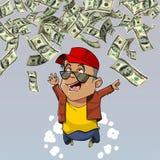 Cartoon happy man falling from above dollars Stock Photos