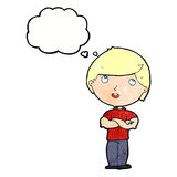 Cartoon happy man with folded arm with thought bubble Royalty Free Stock Photo
