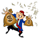 Cartoon happy man holding in each hand bag with dollars. Happy man holding in each hand bag with dollars Royalty Free Stock Image