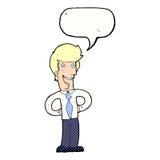 cartoon happy man with speech bubble Royalty Free Stock Image
