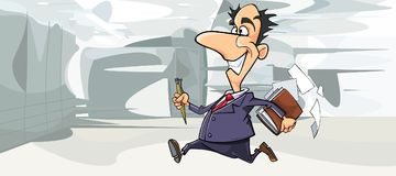 Cartoon happy man in suit running in the office Royalty Free Stock Image