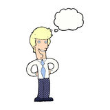 cartoon happy man with thought bubble Royalty Free Stock Photography