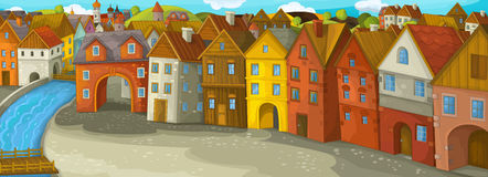 Cartoon happy medieval town Royalty Free Stock Image