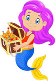 Cartoon happy mermaid holding treasure chest Royalty Free Stock Images