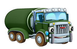 Cartoon happy military truck cistern isolated Stock Photo
