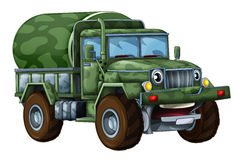 Cartoon happy military truck cistern isolated Royalty Free Stock Photography
