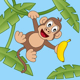 Cartoon Happy Monkey with Banana Stock Image